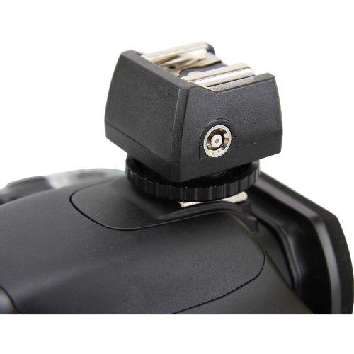 JJC JSC-8 Blitzadapter zum Anschließen von (Studio-) Blitzen per Kabel an Standard ISO Kamerablitzschuh oder Sony Multi Interface Shoe - mit PC-Synchrobuchse und 3,5mm Klinkenbuchse