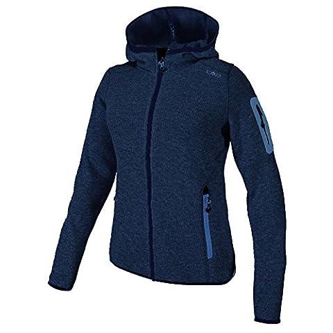 Fleecejacke Sondermodell Kiara Strickfleece Outdoor Jacke CMP für Damen mit Fleece-Innenausstattung und weicher Kapuze- Gr. 40, anthrazite - darknavy