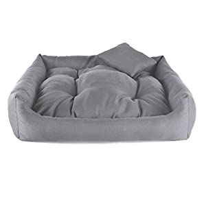 Gorgeous Quilted Reversible Ultra Soft Dual Sofa-Style Dog Bed with 1 Extra Pillow (Gray Color)-Small