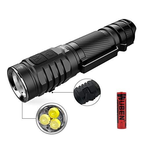 Taschenlampe 3 * LED Super hell 1300 Lumen CREE XPG3 90 CRI LED Taschenlampe Taktische Wiederaufladbare Taschenlampen Outdoor Camping ,Seite Doppeltaster Handlampe Wasserfest Licht ,7 Modi ,mit 18650 Batterie ,WUBEN TO46R