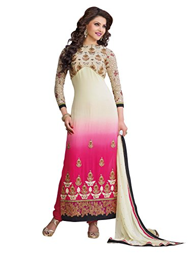 Urvashi Rautela Cream & Pink Color Faux Georgette Traditional Work Semi Stitched...