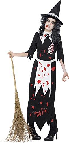 Smiffys, Damen Zombie-Hexe Kostüm, Kleid und Hut, Größe: L, (Hexe Damen Stiefel Erwachsene)