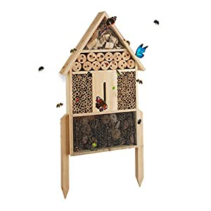 Relaxdays Free-Standing Size L Insect Hotel, Nest Help for Bees, Lacewings, Ladybugs, Wood, HxWxD: 60.5 x 37 x 9 cm, Natural Brown