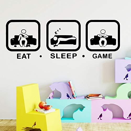 Njuxcnhg Moderne Eat Sleep Gamer Wandaufkleber Selbstklebende Vinyl Wandkunst Aufkleber Schlafzimmer Kindergarten Gameroom Dekoration Zubehör 43X125 cm