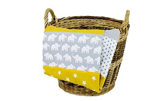 Colcha para bebé de ULLENBOOM ® con elefantes amarillo (manta de arrullo...