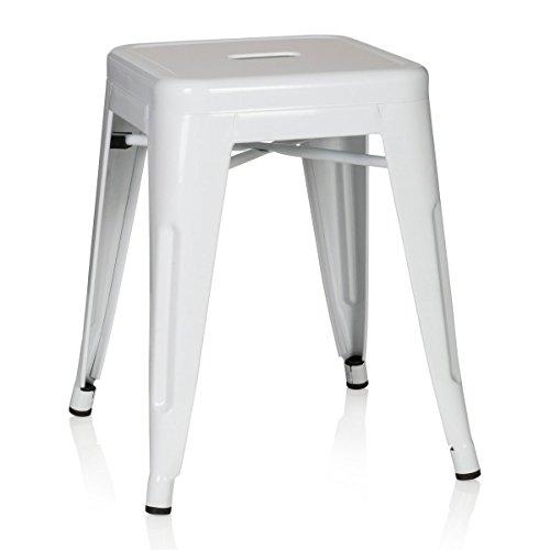 hjh OFFICE 645002 Hocker niedrig VANTAGGIO Metall Weiß Sitzhocker im Industry-Design, stapelbar