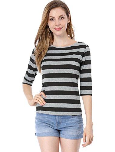 Allegra K Damen Halbarm Flickwerk Colorblock Streifen Top Bluse, M (EU 40)/Schwarz (K Allegra U-boot-ausschnitt)