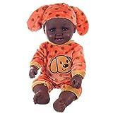 Marlene_Puppe Babypuppe,Marlene 50 cm Lebensechte Reborn Vinyl Baby Doll Afrikanische Jungenpuppe Mit Strampler Hut Anzug