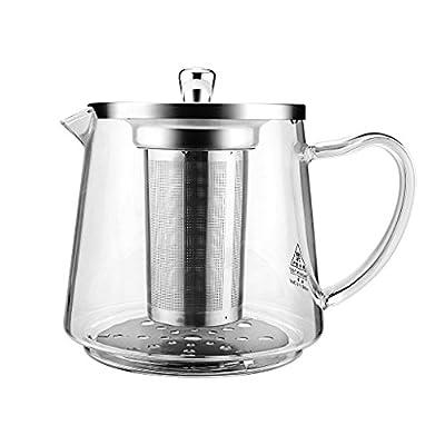 Théière, Théière en verre 1200ml/41oz, Amovible en acier inoxydable et plaque de conductivité cuisinière, micro-ondes et lave-vaisselle Théière et passoire à thé pour thé en vrac et Blooming Thé