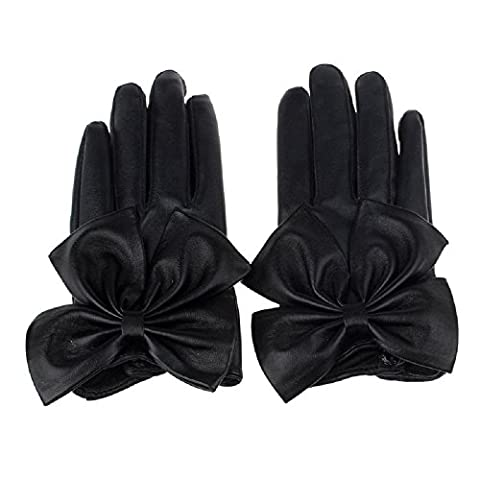 WINWINTOM Frauen-Dame-Schmetterlings-Bogen-Handgelenk aus weichem Leder Winter Handschuhe