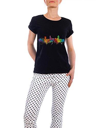 """Design T-Shirt Frauen Earth Positive """"Raleigh North Carolina Watercolor"""" - stylisches Shirt Städte Reise Architektur von Michael Tompsett Schwarz"""