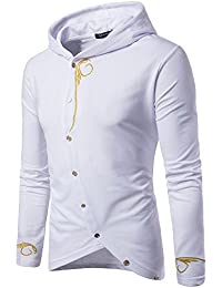 BUSIM Men's Long Sleeve Sweater Hoodie Solid Color Zip Pullover Fashion Trend Jacket Sports Top Shirt Loose Comfort...
