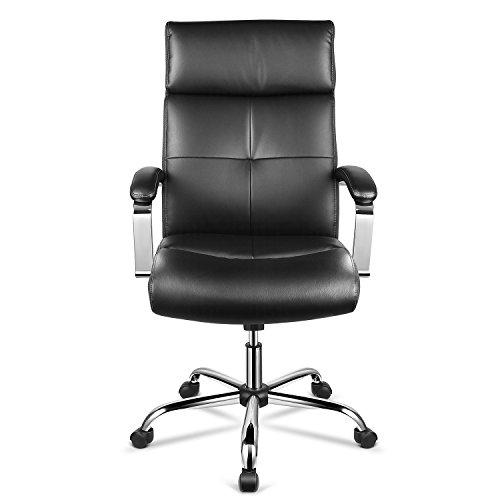 INTEY Bürostuhl mit hoher Rückenlehne, Chefsessel, Bürosessel, PU Bürostuhl, Höhenverstellung, Kunstleder Dicker Schwamm, Schreibtischstuhl, ergonomisches Design, Belastbar bis 120 kg