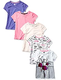Amazon Brand - Spotted Zebra Girl's 5-Pack Short-Sleeve T-Shirts, Pack of 5