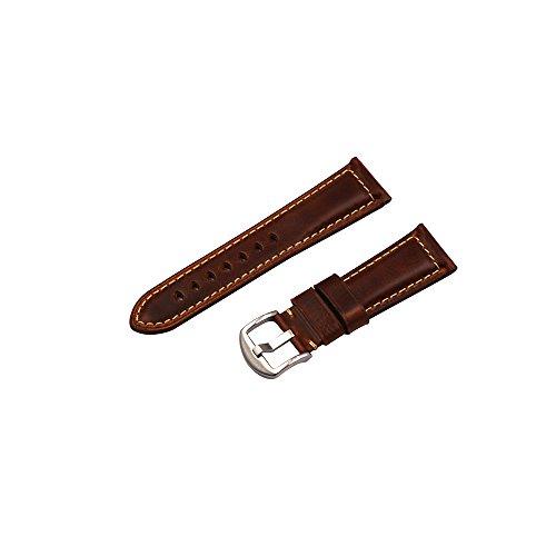 Uhrenarmband Retro Panerai Herren Leder Ersatz Uhrenarmband 20mm 22mm 24mm Geeignet für traditionelle High-End-Uhren Zubehör oder Sport Fashion Smart Uhrenarmband Braun Silber Schnalle 20mm