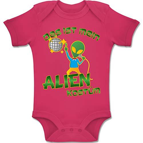 Ball Kostüm Disco Baby - Karneval und Fasching Baby - Das ist Mein Alien Kostüm Disco - 6-12 Monate - Fuchsia - BZ10 - Baby Body Kurzarm Jungen Mädchen