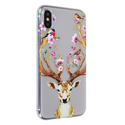 2xCoque iPhone X,Etui iPhone X Housse Rosa Schleife Ultra Slim Silicone Souple Housse TPU Gel Transparente Case léger Fin Portable Telephone Bumper arriere Coque Protection Protective Smart Cover Poch Five