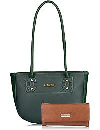 Fostelo Women's Combo Handbag & Clutch (Green & Tan) (FSB-1138-FC-32)