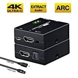 Tendak HDMI Audio Extractor Mit ARC, 4K HDMI zu HDMI + Optical/Toslink Audio Adapter Converter Splitter Unterstützung 4K@30Hz 3D für Soundbar Blu-ray PS3 PS4 DVD Player Sky HD Box One