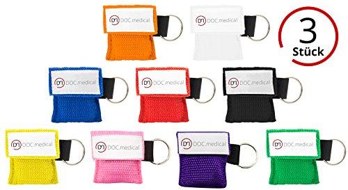 3x Beatmungstuch Schlüsselanhänger Taschenmaske CPR-Tuch für den Schlüsselbund (rot)