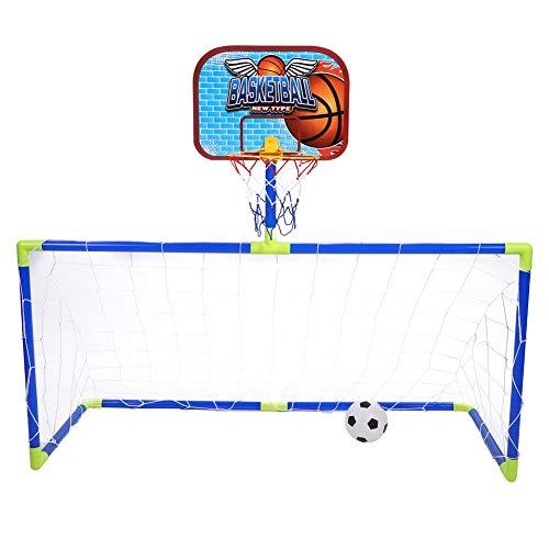 Dilwe Basketball und Fußball Sport Tor Sets, Tragbare Faltbare Kinder Fußballtor Basketball Kit mit Fußball Basketball Pumpe für Kinder Spielzeug Geschenk -