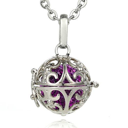Morella® Damen Halskette Edelstahl 70 cm mit Ornament Anhänger und Klangkugel lila Ø 16 mm in Schmuckbeutel