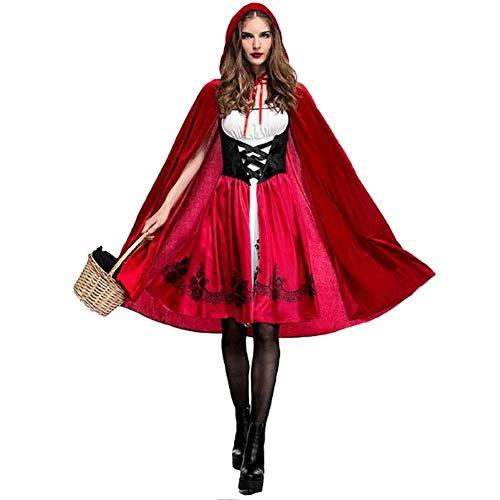 Suncaya Halloween Party Rollenspiel Rotkäppchen Kostüm Adult Cosplay Kleid Party Nightclub Queen Bar Event Performance Kostüm Rot