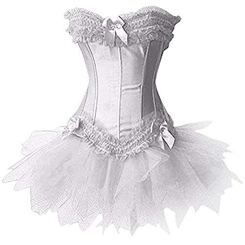 Forever Young Ladies Burlesque Moulin Rouge Corsetto + Tutu Sexy 2 pezzi Fancy Dress Costume Tutto bianco Bustier Lingerie Corsetto Nuziale Halloween Hen Party Outfit EU 46