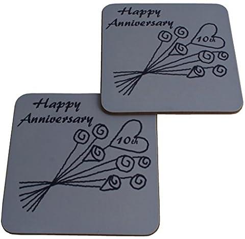 10. Jahrestag (Dose) Paar Untersetzer Blume