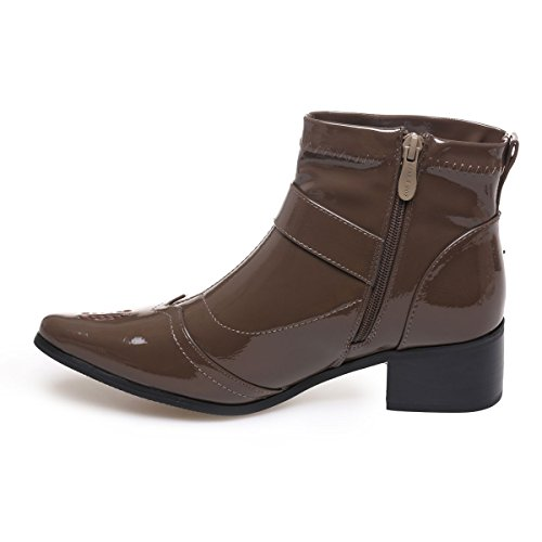 La Modeuse - Bottines en simili cuir vernies bout pointu Marron