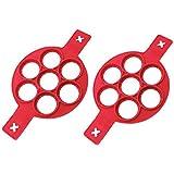 bobotron Flip Cooker Pannenkoeken Mold - Nieuwe Upgrade Siliconen Pannenkoekvormen 7 Cirkels Herbruikbare niet-Stick Ei Mold Ring pannenkoekmaker voor Keuken - 2 Pack
