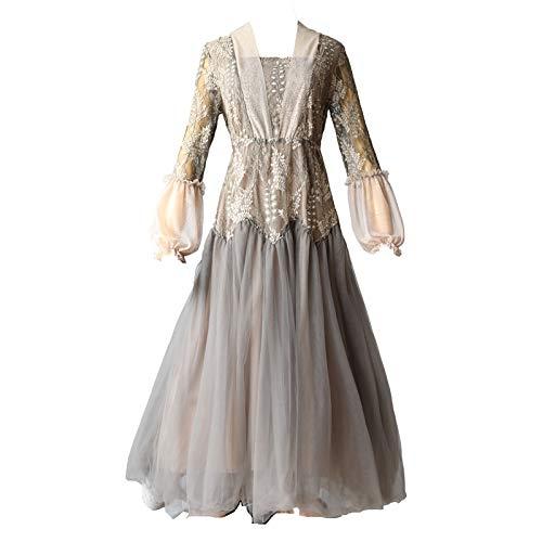 lang Damen tüll Victoria Vintage Blumenstickerei Spitze Patchwork Mesh Kleid Frauen Laterne Ärmel Elegante Voile Lange Tüll Kleid L ()