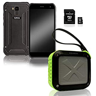 Cyrus CYR111015 Outdoor Smartphone CS40 Freestyle, Kouros Bluetooth Box mit Intenso 64GB microSDXC Speicherkarte Schwarz/Grün