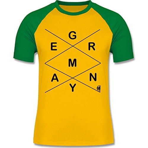Statement Shirts - Germany - zweifarbiges Baseballshirt für Männer Gelb/Grün