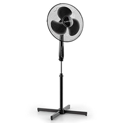 Klarstein Black Blizzard Standventilator Ventilator für Garten/Heim/Büro geräuscharm (Großes 40,6cm (16 Zoll) Rotorblatt, 3 Geschwindigkeiten, Schwenkfunktion/Oszillation, 50W) schwarz