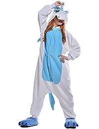 XaoRo Unisex Adult Kigurumi Blau Einhorn Tier Cosplay Neuheit Homewear Onesies Nachtwäsche erwachsene Karikatur Karneval Weihnachten Halloween-Kostüm