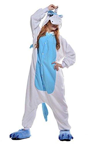 XaoRo Unisex Adult Kigurumi Blau Einhorn Tier Cosplay Neuheit Homewear Onesies Nachtwäsche erwachsene Karikatur Karneval Weihnachten ()