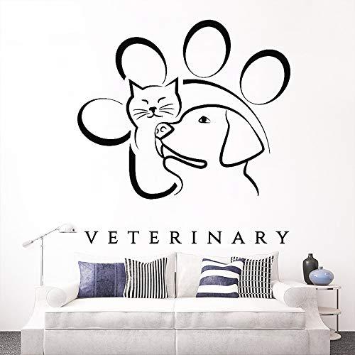 guijiumai Veterinärmedizin Tier Haustier Wandtattoo Vinyl Aufkleber Wandbild Hund Katze Muster Fensteraufkleber Poster Removable Wallpaper schwarz 57X60 cm