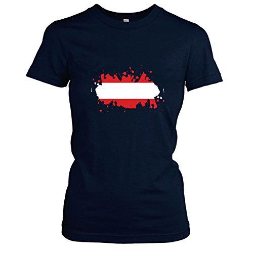 Texlab Splash Österreich - Damen T-Shirt Dunkelblau, XL
