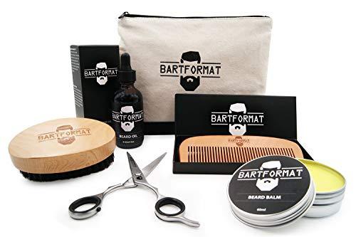 Bartpflegeset für Männer 6-teilig von BARTFORMAT - Bartöl + Balsam + Bartschere + Bartbürste + Bartkamm + Kulturbeutel - Das hochwertige Bartpflege Set ideal als Geschenk