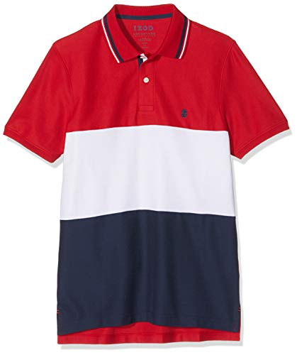 Golf Striped Polo Shirt (Izod Herren Poloshirt Performance Colorblock Polo Rot (Real Red 625), X-Large (Herstellergröße: XL))