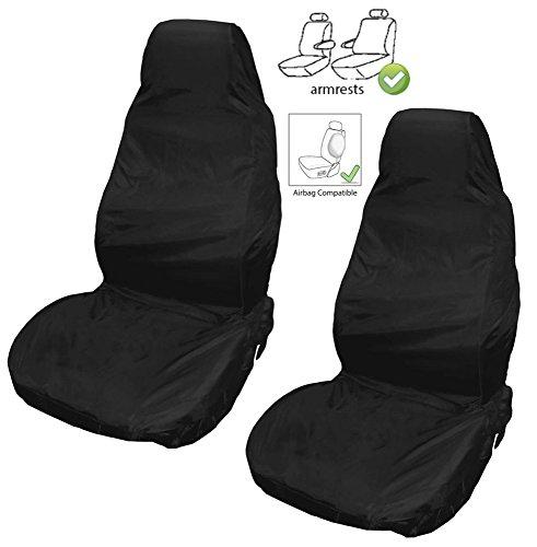 XtremeAuto® Sitzbezug für Transporter, robust, wasserdicht, mit extra hohem Rücken für Transportersitze, mit Airbag und Armstützen kompatibel.Schwarz.