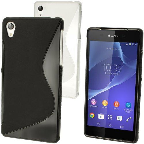 igadgitz Negro Funda S-Line TPU Para Sony Xperia Z2 D6503 + Protector Pantalla