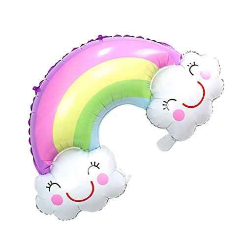 Prettyia Folienballon, Regenbogen Luftballons Folie, Luftballons Hochzeit, Helium-Ballons mit Lächeln Druck für Hochzeit