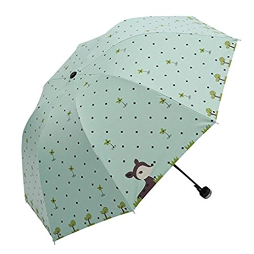 ZHOUBA Faltbarer Sonne- oder Regenschirm für Damen von mintgrün Regular