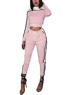 Minetom Femmes Jogging Yoga Gym Survêtement Sports Suits Manches Longues  Crop Top Sweat-Shirt et 27da47e9b1a