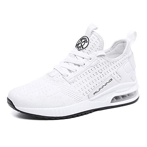 TQGOLD® Sportschuhe Herren Damen Laufschuhe Sneakers Turnschuhe Gym Fitness Leicht Schuhe(Weiß,Groß 42) -