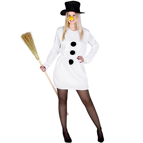 Weiss Cosplay Kostüm Schnee (Damenkostüm Schneefrau Weihnachts Kostüm | kurzes sexy Kleid mit aufgenähten Bommeln | inkl. Zylinder und Karottennase (S/M | Nr.)