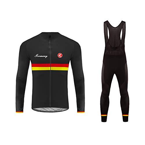 Uglyfrog Radteam Outdoor Sports Herren Langarm Radtrikot und Trägerhose Set Gel Pad Grö�
