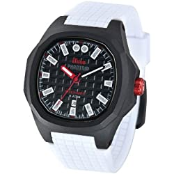 iTime Unisex Quartz Watch with Black Dial Analogue Display and White Silicone Strap PH4300-PHD1